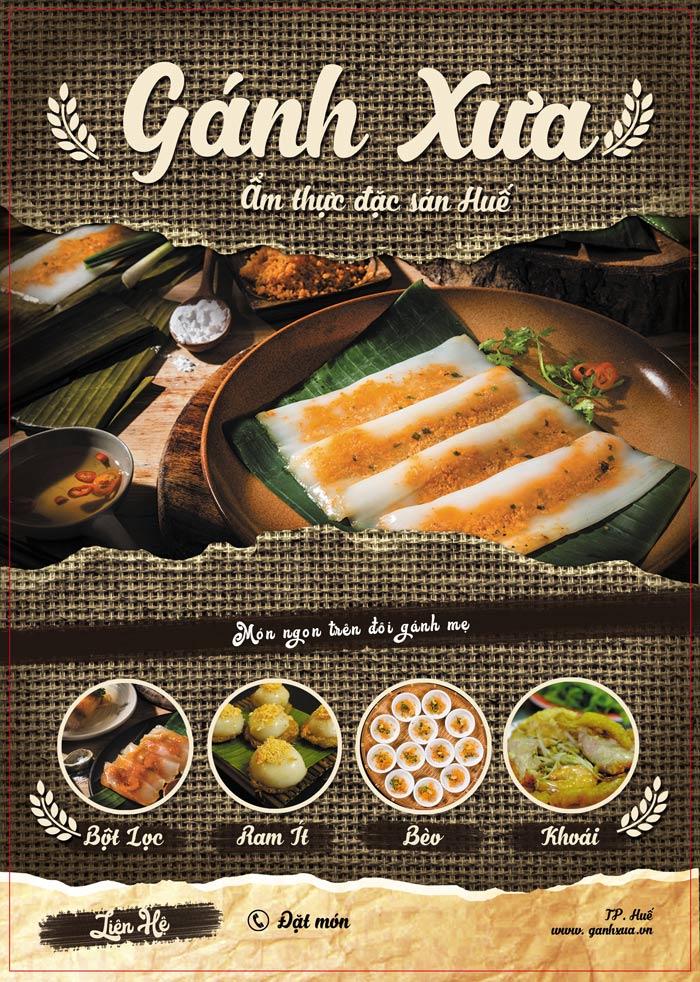 menu nhà hàng Gánh Xưa
